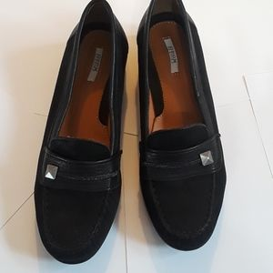 Geox Respira Black Leather Loafers size 8.5